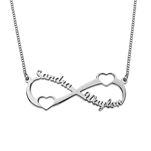 - 925 Sterling Silver Personalized Infinity Name Necklace with Two Cut Out Heart Custom Made with 2 Names (Silver)