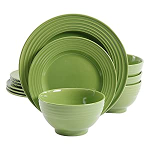 Gibson Home 12 Piece Plaza Cafe Round Dinnerware Set with Embossed Stoneware, Green