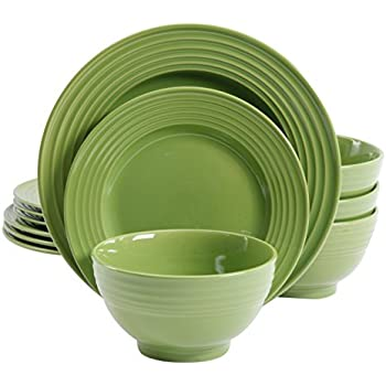 Gibson Home 12 Piece Plaza Cafe Round Dinnerware Set with Embossed Stoneware Green  sc 1 st  Amazon.com & Amazon.com: Gibson Home 12 Piece Plaza Cafe Round Dinnerware Set ...