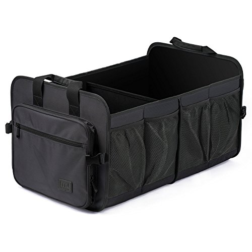 Bin Car Storage (Foldable Cargo Trunk Organizer Washable Waterproof Storage with Reinforced Handles by MIU COLOR; Black(NO COOLER))