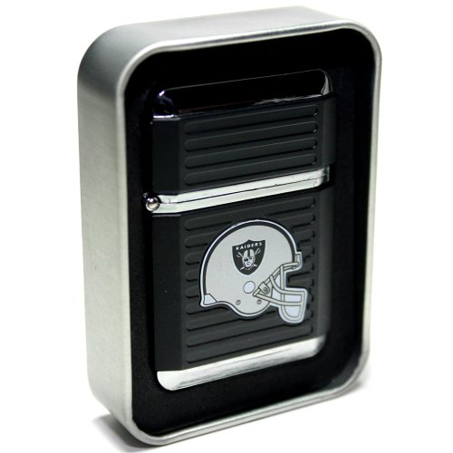 NFL Oakland Raiders Refillable Butane Torch Lighter with Tin Gift Box - Factory New - 2 1/4 Inch (Oakland Raiders Box)