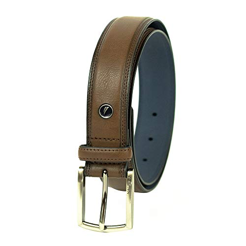 Nautica Men's Belt with Dress Buckle and Stitch Comfort,Brown,40 from Nautica