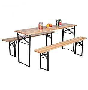 MD Group Table Bench Set Foldable High Class Wooden Fir Wood & Heavy Load Iron Frame Picnic Set