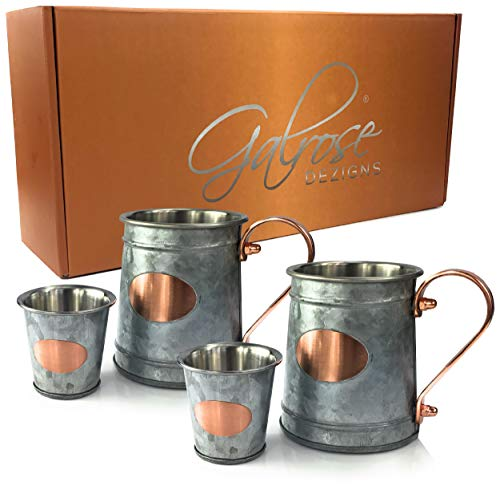 Galrose BEER MUG BEER STEIN - New Look MOSCOW MULE MUGS + 2 Bonus SHOT GLASSES Set Galvanized Iron Stainless Steel Lined Double Wall/Rose Gold Plaque & Handle 6th Wedding Anniversary Gifts for Couple (Wedding Anniversary Stein)