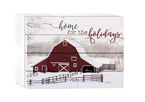 P. GRAHAM DUNN Home The Holidays Barn Printed 8 x 6 Wood Christmas Tabletop Boxed Pallet Sign