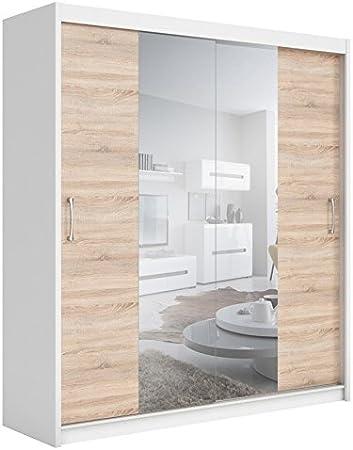 BlackRedWhite Elda Dormitorio Armario Blanco Brillante Roble wengué 2 Puertas correderas Espejo: Amazon.es: Hogar