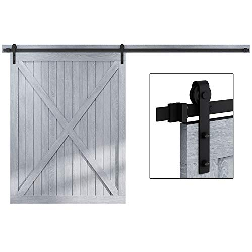 EaseLife 10 FT Heavy Duty Sliding Barn Door Hardware Track Kit - Ultra Hard Sturdy | Sliding Smooth Quiet | Easy Install | Fit up to 60