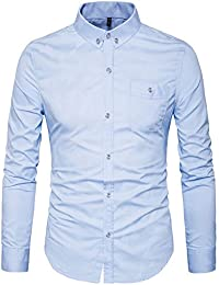 Mens Printed Casual Button Down Shirt-Cotton Long Sleeve Regular Fit Dress Shirt