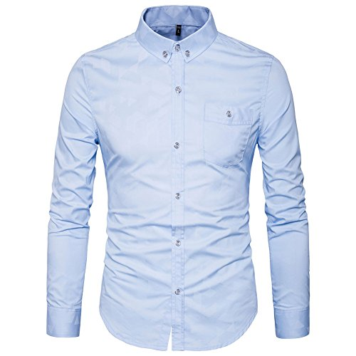 (MUSE FATH Mens Printed Casual Button Down Shirt-Cotton Long Sleeve Regular Fit Dress Shirt-Light Blue-S)
