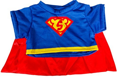 "Super Bear Tee with Cape Teddy Bear Clothes Fits Most 14""-18"" Build-a-bear and Make Your Own Stuffed Animals from Stuffems Toy Shop"