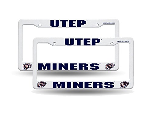Texas El Paso UTEP Miners NCAA Raised Letter White Plastic License Plate Frame - Framing El Paso