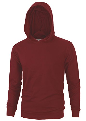 Hoody Burgundy Pullover (MAJECLO Mens Lightweight Cotton Pullover Long Sleeve Hoodie Sweatshirt(X-Large,Burgundy))