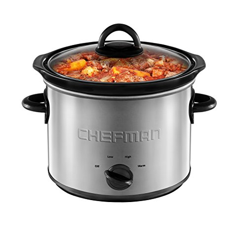 Cheap Chefman 3 Quart Slow Cooker with 3 Manual Heat Settings, Removable Crock Insert, Dishwasher Safe Stoneware & Lid, Ideal for 3+ People Fits 3 lb Roast, Stainless Steel