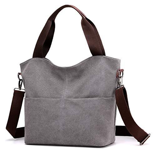 Hobo Handbags, DOURR Canvas Crossbody Bags for women Fashion Crossover Purse Cotton Shoulder Bag (Gray), Large ()