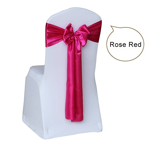 100pcs/lot Wedding Chair Cover Sashes Bow for Wedding Tie Ribbon Decoration Party Supplies - Rose Red