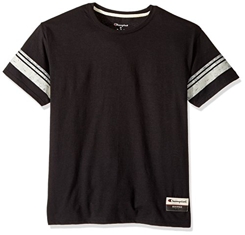 Champion Men's Authentic Originals Tri-Blend Short Sleeve Varsity Tee, Black Stripe, Medium (Jersey Champion Vintage)