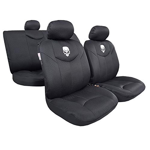 Airflow Mesh Car Seat Covers Embroidery Auto Interior Accessories Universal Size for Toyota Tacoma RAV4 4Runner – Cool in Summer Warm in Winter – 9pcs Complete Set (Skull Black)