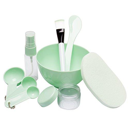 Jaciya 9 Pack DIY Facemask Mixing Tool Kit with Big Volume Mask Bowl Spatula Brush Spray Bottle Puff Soaking Bottle Gauges, (Zinc Brush)