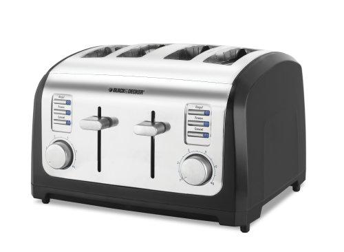 BLACK+DECKER T4030 4-Slice Toaster, Bagel Toaster, Stainless Steel