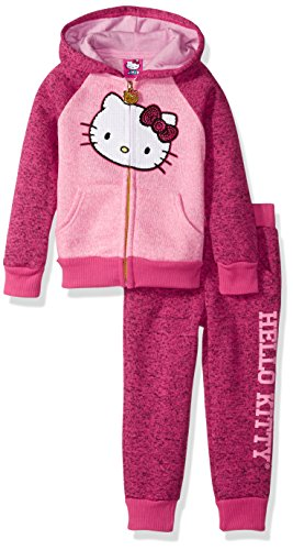 Hello Kitty Toddler Girls' 2 Piece Hooded Fleece Active Set, Pink 87571, 2T (Hello Kitty Girls Dress)