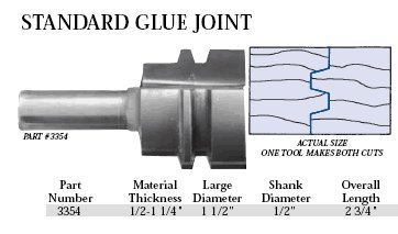 Whiteside Router Bits 3354 Standard Glue Joint Bit with 1-1/2-Inch Large Diameter and 1/2-Inch to 1-1/4-Inch Cutting Length