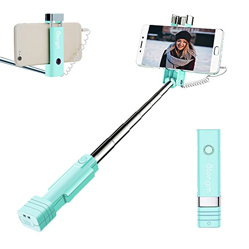 Mini Selfie Stick, atongm Cell Phone Selfie Sticks Extendable Mini All in One Wire Selfie Stick for Cellphone(iPhone, Android) (Blue) (Time Picnic Apple)