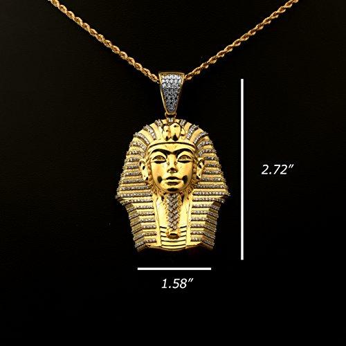 Love Bling 10k Yellow Gold Egyptian Pharaoh Head Charm Pendent (2.72'' x 1.58'') by LoveBling (Image #2)
