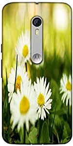 Snoogg Camomile On A Fiel Designer Protective Back Case Cover For Motorola Mo...