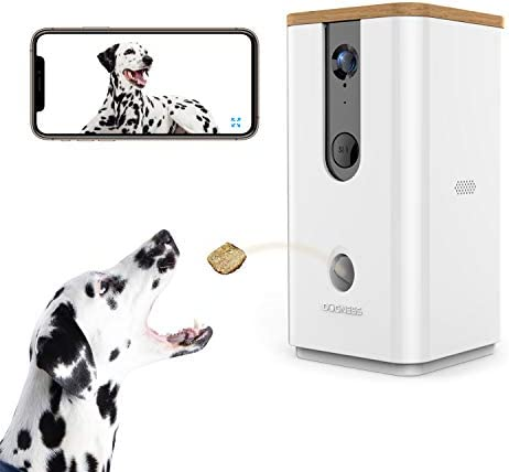 Vbroad Smart Pet Camera Treat Dispenser, 2.4G WiFi Remote Camera Monitor 720P HD Night Vision Video with 2-Way Audio Designed for Dogs and Cats, Home Safety Pet Monitor Android iOS