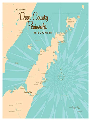 - Door County Peninsula Wisconsin Vintage-Style Map Art Print Poster by Lakebound (9
