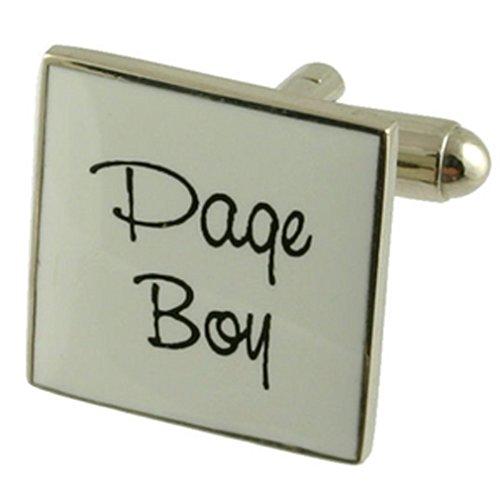 Page paire de manchettes mariage blanc garçon personnalisée gravée fort en option