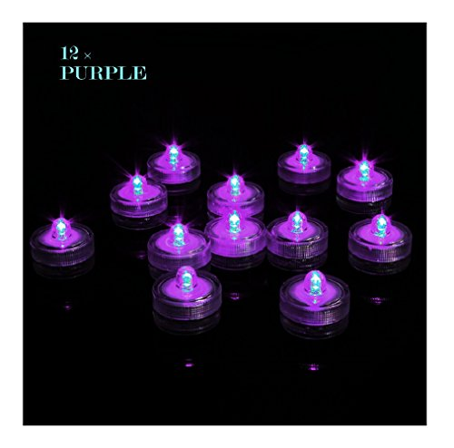 Livingly Light Home Decorations LED Tea Candles Bulb Battery Operated Flameless for Seasonal & Festival Celebration, Pack of 12, Electric Fake Candle in Purple and Wave Open