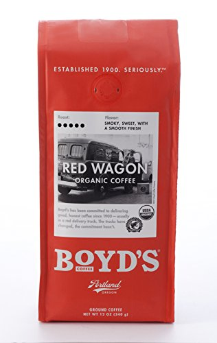 Boyd's Organic Red Wagon Coffee - Ground Dark Roast - 12-Oz Bag from Boyds Coffee