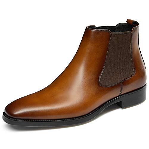 GIFENNSE Men's Chelsea Boots,Black Boots for Men,Brown Boots,Leather Boots,Mens Chelsea Boots (9US/Brown