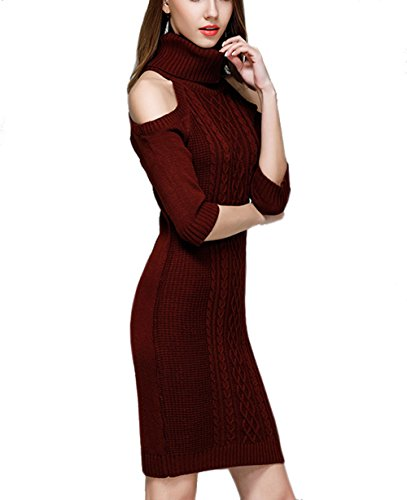 Deborri Women's High Neck Cut Out Cold Shoulder Cable Knitted Long Sweater Pullover Red L