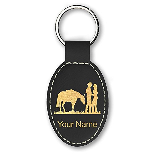 Western Engraving (Oval Keychain, Romantic Country Western, Personalized Engraving Included (Black))