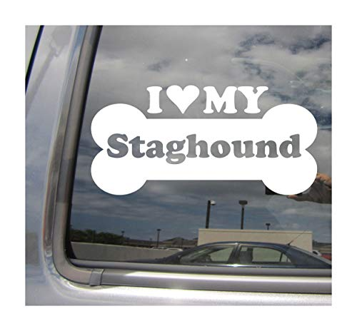 I Heart Love My Staghound - Dog Bone Shag American Mix Hybrid Purebred Cars Trucks Moped Helmet Hard Hat Surfboard Auto Automotive Craft Laptop Vinyl Decal Store Window Wall Sticker 13061