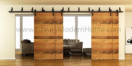 sbd AUSTIN - 8' feet - 98'' 2.5 m Rail DOUBLE BYPASS Sliding Barn Door Hardware Rustic Antique Classic Country Track RailSteel extra long by LuxuryModernHome.com (Image #9)