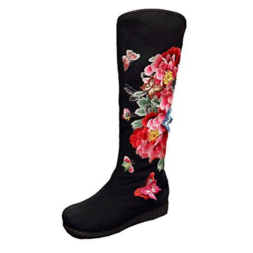 KHSKX-Las nuevas botas de estilo folk con poca pendiente con redondo bordado ocio zapatos botas altas botas chino viento Tube Martin black