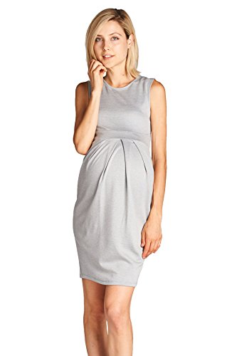- LaClef Women's Knee Length Midi Maternity Dress with Front Pleat (Small, Grey)