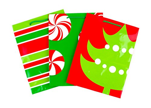 (Hallmark Medium Christmas Gift Bags, Red and Green Christmas Tree, Peppermints, Stripes (Pack of 3 Paper Gift Bags with Handles for Holiday Gifts))
