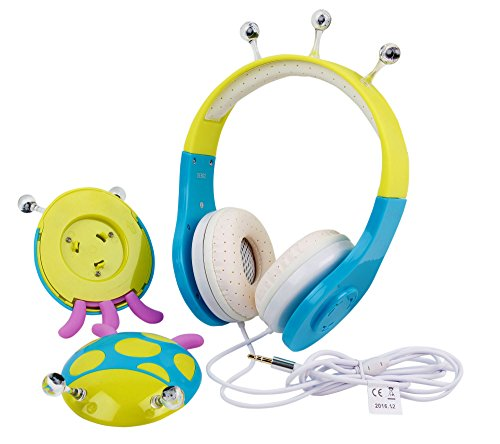 Blue / Green Ladybird Children's Headphones For Curtis DVD7015UK Portable 7 inch DVD Player & Akai 7'' Portable DVD with DIGITAL TV by DURAGADGET