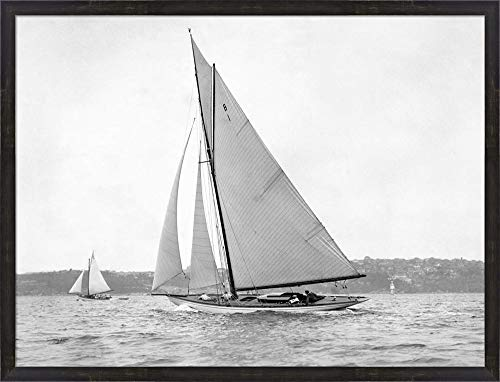 Victorian sloop on Sydney Harbour, 1930 Framed Art Print Wall Picture, Espresso Brown Frame, 41 x 31 inches