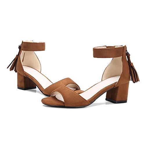 Summer-lavender Flock Fringe high Square Heel Solid Concise Heel Height 5 cm Large Size Women's Sandals,Brown,7.5