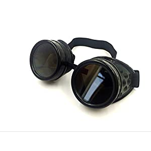 Cyber Goggles Steampunk Welding Goth Cosplay Vintage Goggles Rustic (Glod)
