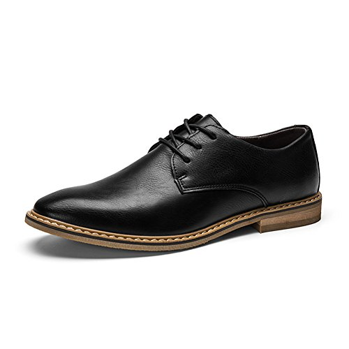 Mens Classic Leather Shoes, COUTUDI Comfortable Laca-up Formal Shoes (UK 8.5, Black)