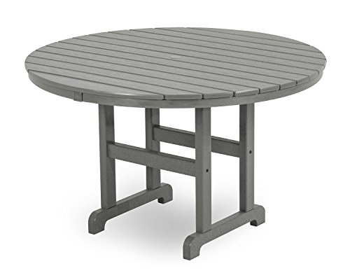 POLYWOOD RT248GY Round Dining Table, 48-Inch, Slate Grey