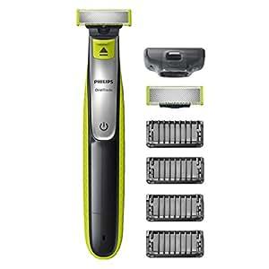 Philips OneBlade QP2530/30 - Recortador de barba con 4 peines de 1, 2, 3, 4, 5 mm longitudes, incluye cuchilla adicional, recorta, perfila y afeita, recargable