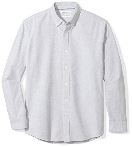 Amazon Essentials Men's Regular-Fit Long-Sleeve Solid Oxford Shirt, grey, XX-Large
