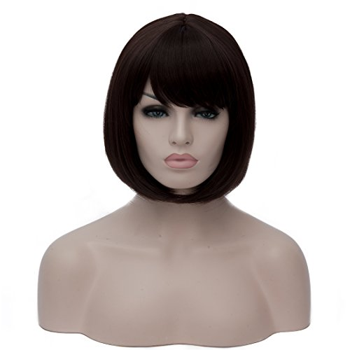TopWigy Women's Wig 30CM Short Bob Straight Wigs Heat Resistant with Side Bangs Synthetic Wigs+Wig Cap Dark - Boxing Buy Day Canada Best